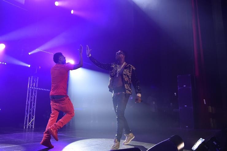 Zaytoven and Gucci Mane perform on stage at Gucci and Friends Homecoming Concert at Fox Theatre on July 22, 2016 in Atlanta, Georgia
