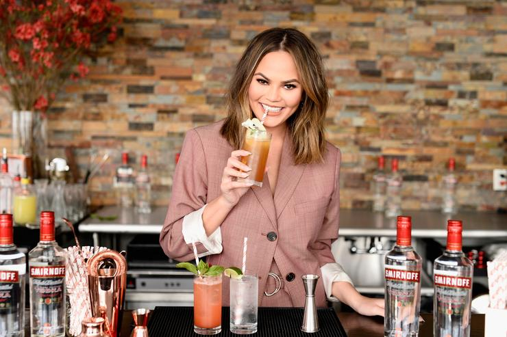 Chrissy Teigen hosts a 'Cocktails with Chrissy' event featuring delicious Smirnoff No. 21 Vodka summer cocktails on April 27, 2017 in New York City