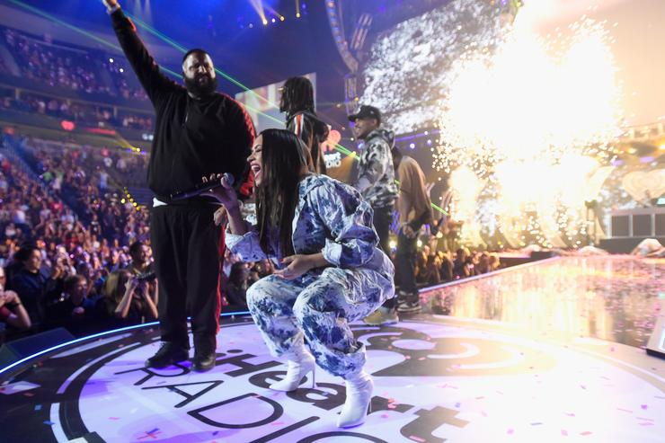 DJ Khaled (L) and Demi Lovato perform onstage during the 2017 iHeartRadio Music Festival at T-Mobile Arena on September 23, 2017 in Las Vegas, Nevada