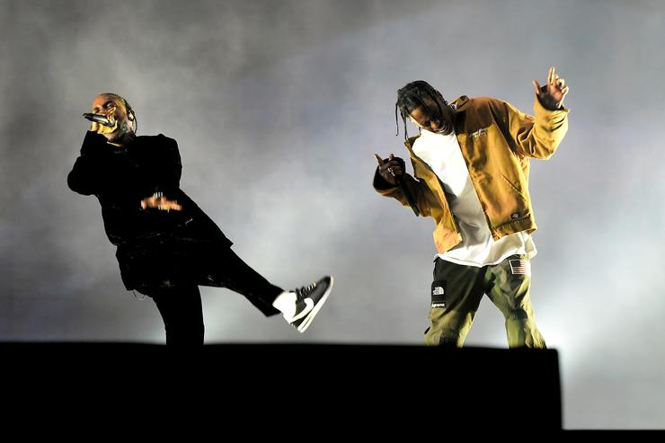 Rappers Kendrick Lamar (L) and Travis Scott perform on the Coachella Stage during day 3 of the Coachella Valley Music And Arts Festival (Weekend 1) at the Empire Polo Club on April 16, 2017 in Indio, California