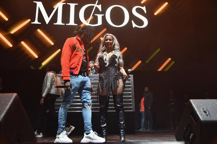 Cardi B and Offset onstage together at Powerhouse 2017