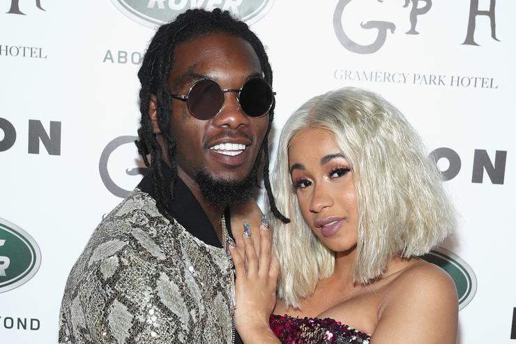 Offset (L) and Cardi B attend NYLON's Rebel Fashion Party, powered by Land Rover, at Gramercy Terrace at Gramercy Park Hotel on September 12, 2017 in New York City