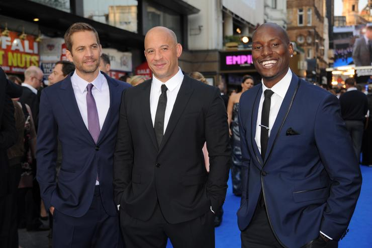 Actors Paul Walker, Vin Diesel and Tyrese Gibson attend the 'Fast & Furious 6' World Premiere at The Empire, Leicester Square on May 7, 2013 in London, England