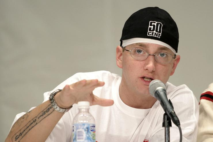 Rap artist Eminem speaks about his financial past and present at the 1st Financial Hip Hop Summit May 14, 2005 in Detroit, Michigan. The summit, which brought together Russell Simmons and hip Hop and Rap artists to raise awareness of young adults about the importance of financial empowerment