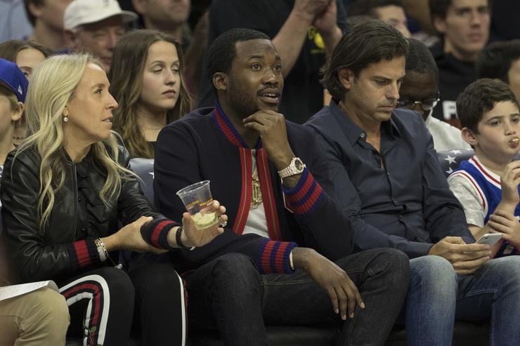 Meek Mill at 76ers basketball game