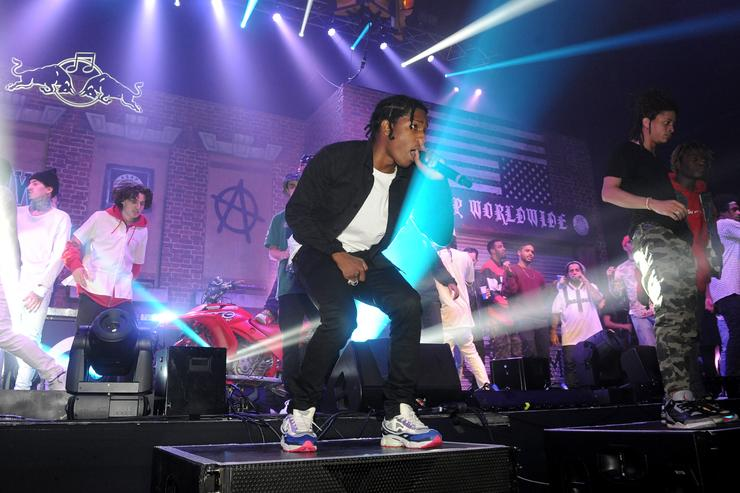 A$AP Rocky performs with A$AP Mob onstage at Red Bull Culture Clash at Earls Court on October 30, 2014 in London, England