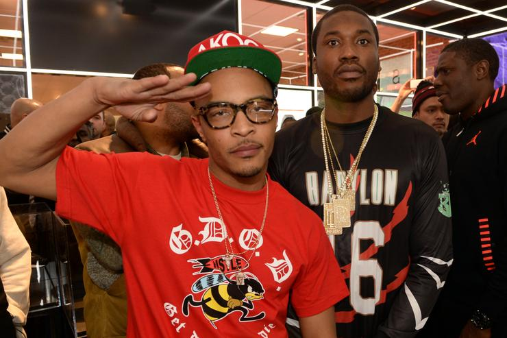 Rappers T.I. and Meek Mill make a special appearance at The PUMA Lab Powered by Foot Locker at Foot Locker at the Gallery at South Dekalb Mall on February 6, 2014 in Atlanta, Georgia