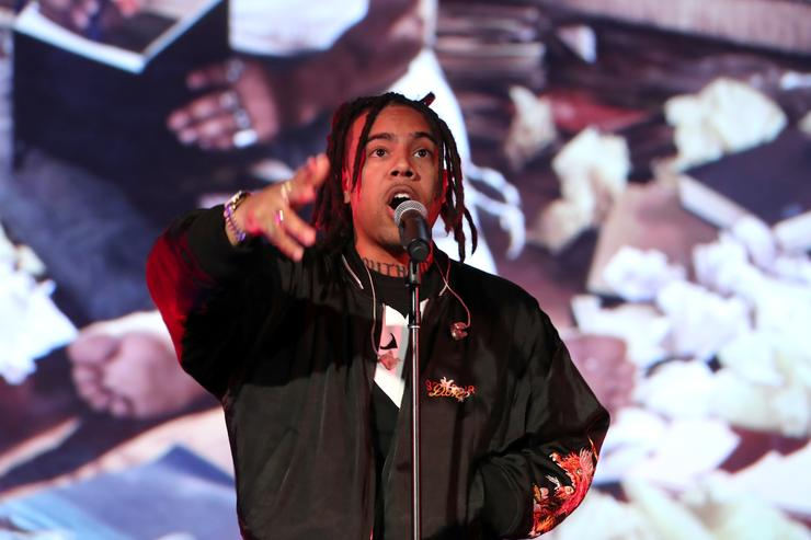 Recording artist Vic Mensa performs onstage during Capitol Music Group's Premiere Of New Music And Projects For Industry And Media at ArcLight Cinemas on August 9, 2017 in Hollywood, California