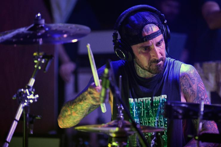Musician Travis Barker performs during the launch of his residency 'Give the Drummer Some' at Hyde Bellagio at Bellagio on August 18, 2015 in Las Vegas, Nevada