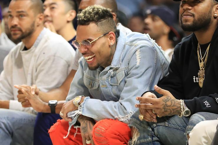 Recording artist Chris Brown attends week eight of the BIG3 three on three basketball league at Staples Center on August 13, 2017 in Los Angeles, California