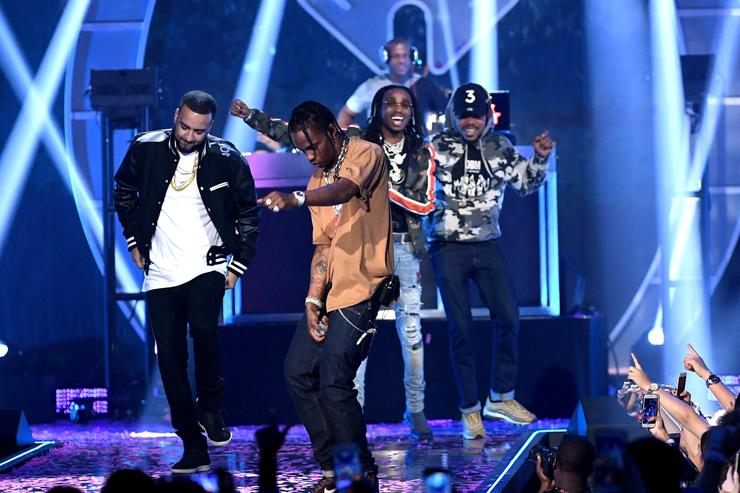 French Montana, Travis Scott, Chance the Rapper, and Quavo perform onstage during the 2017 iHeartRadio Music Festival at T-Mobile Arena on September 23, 2017 in Las Vegas, Nevada