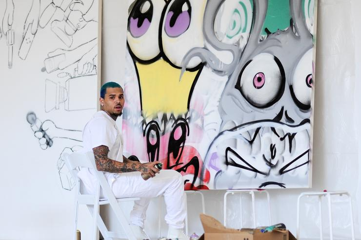 Chris Brown And KAI At Fine Art Auctions Miami's Urban Art Week