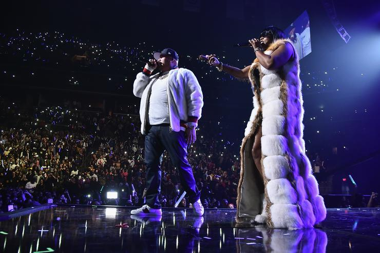 Fat Joe (L) and Remy Ma perform onstage during TIDAL X: Brooklyn at Barclays Center of Brooklyn on October 17, 2017 in New York City
