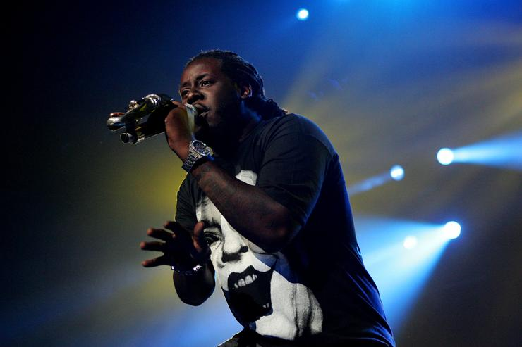 Hip pop singer T-Pain, supporting Akon performs on stage at the Acer Arena on October 27, 2009 in Sydney, Australia.