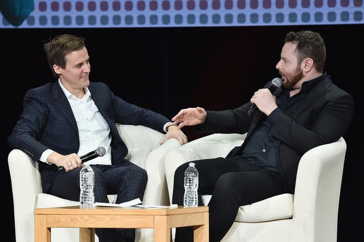 Co-Founder and CEO of Global Citizen and Global Poverty Project Hugh Evans (L) and entrepreneur and philanthropis Sean Parker speak onstage during Global Citizen: Movement Makers at NYU Skirball Center on September 19, 2017 in New York City