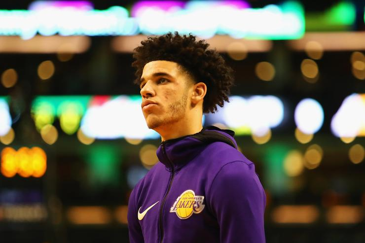Lonzo Ball #2 of the Los Angeles Lakers looks on before the game against the Boston Celtics at TD Garden on November 8, 2017 in Boston, Massachusetts.