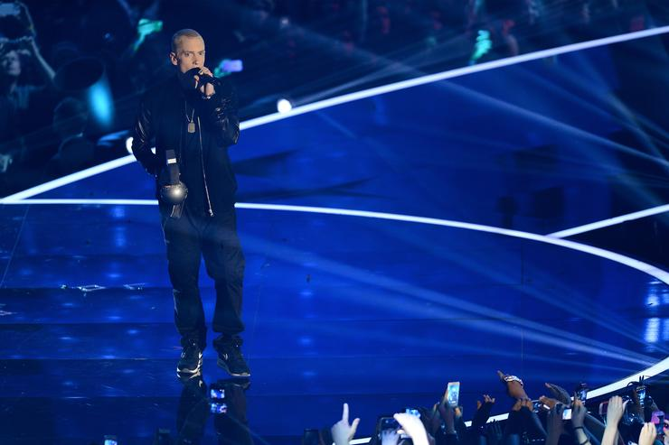 minem accepts the Best Hip Hop award onstage during the MTV EMA's 2013 at the Ziggo Dome on November 10, 2013 in Amsterdam, Netherlands