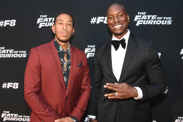 Ludacris and Tyrese Gibson attend 'The Fate Of The Furious' Atlanta red carpet screening at SCADshow on April 4, 2017 in Atlanta, Georgia