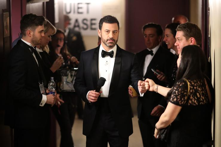 Host Jimmy Kimmel backstage during the 89th Annual Academy Awards at Hollywood & Highland Center on February 26, 2017 in Hollywood, California