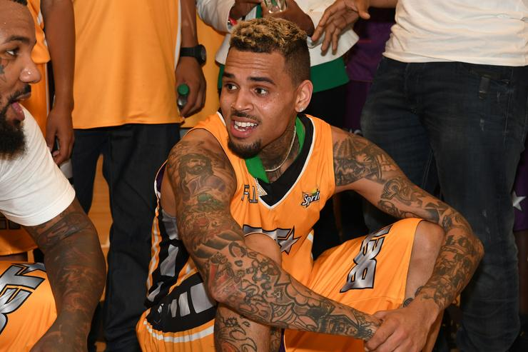 Chris Brown at celebrity ball game