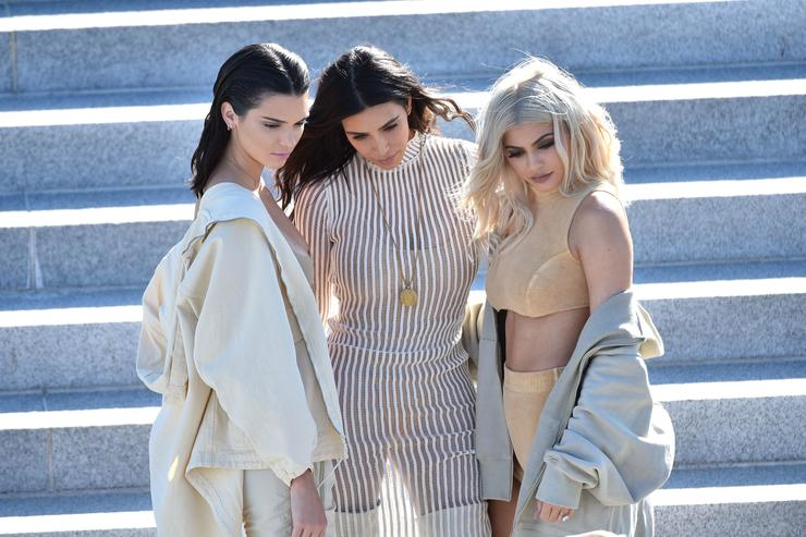 Kendall Jenner, Kim Kardashian and Kylie Jenner attend the Kanye West Yeezy Season 4 fashion show on September 7, 2016 in New York City