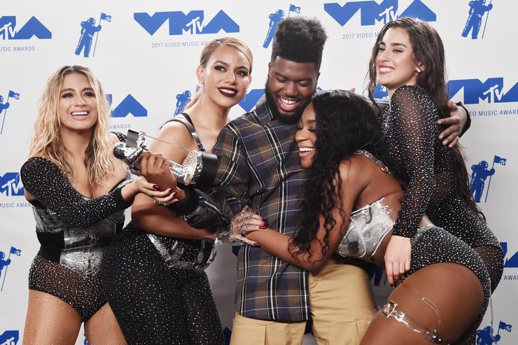 Khalid, winner of Best New Artist, and Ally Brooke, Dinah Jane, Normani Kordei and Lauren Jauregui of Fifth Harmony, winners of Best Pop for 'Down', pose in the press room during the 2017 MTV Video Music Awards at The Forum on August 27, 2017 in Inglewood, California