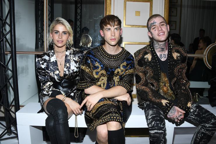Caroline Daur,Tommy Dorfmann and Lil Peep attend the Balmain Menswear Spring/Summer 2018 show as part of Paris Fashion Week on June 24, 2017 in Paris, France