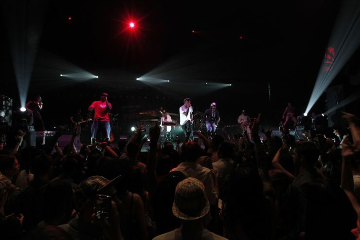 Music group NERD performs onstage during Motorola at Perez Hilton's 'One Night in Los Angeles' at the Wiltern Theatre on September 11, 2010 in Los Angeles, California
