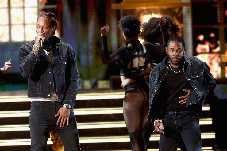 Future (L) and Kendrick Lamar preform onstage at 2017 BET Awards at Microsoft Theater on June 25, 2017 in Los Angeles, California