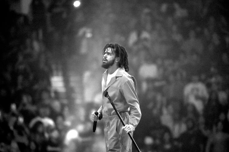 American hip-hop artist J. Cole performs at Barclays Center of Brooklyn on August 1, 2017 in the Brooklyn borough of New York City