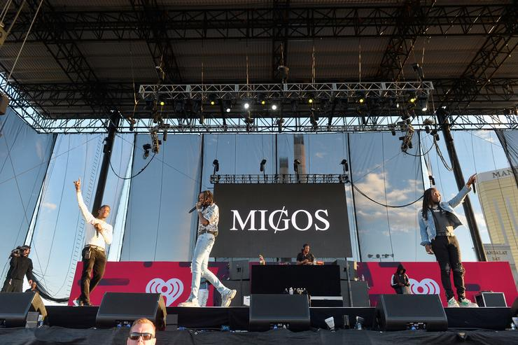 Offset, Quavo and Takeoff of Migos perform onstage during the Daytime Village Presented by Capital One at the 2017 HeartRadio Music Festival at the Las Vegas Village on September 23, 2017 in Las Vegas, Nevada