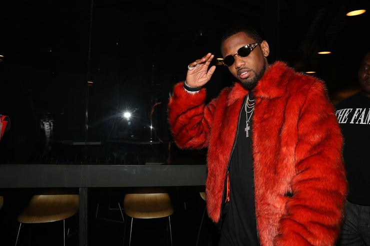 Fabolous at TIDAL Brooklyn event in a red fur