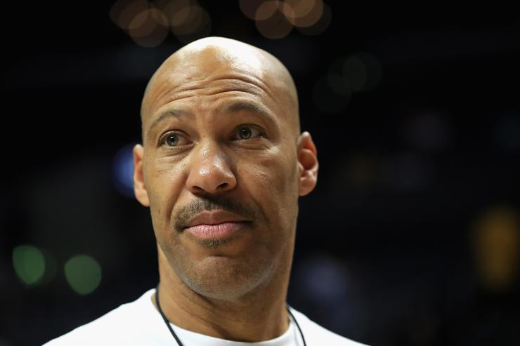 Lavar Ball looks on during week eight of the BIG3 three on three basketball league at Staples Center on August 13, 2017 in Los Angeles, California