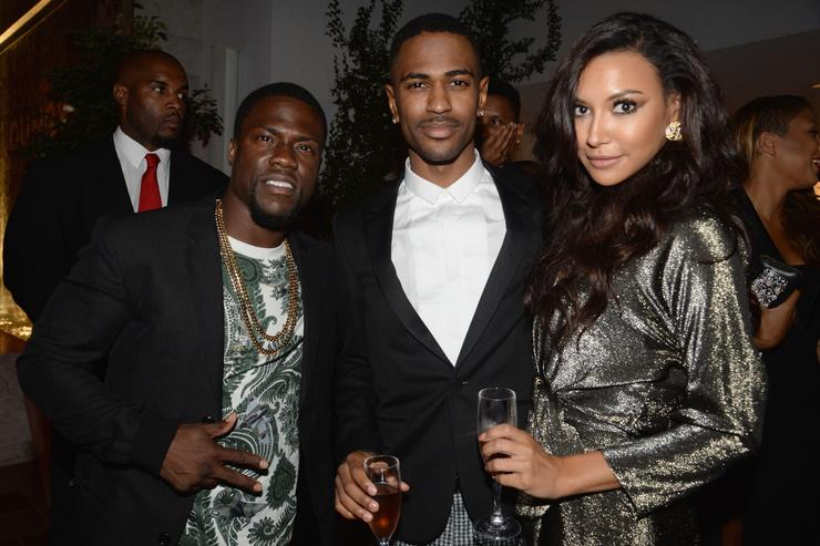 Actor Kevin Hart, recording artist Big Sean and actress Naya Rivera attend Moet Rose Lounge Los Angeles hosted by Big Sean at The London West Hollywood on August 13, 2013 in West Hollywood, California