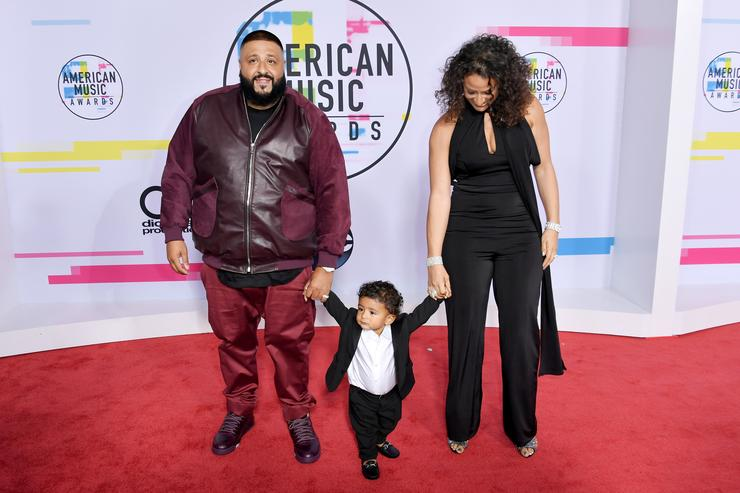 DJ Khaled, Asahd Tuck Khaled and Nicole Tuck attend the 2017 American Music Awards at Microsoft Theater on November 19, 2017 in Los Angeles, California