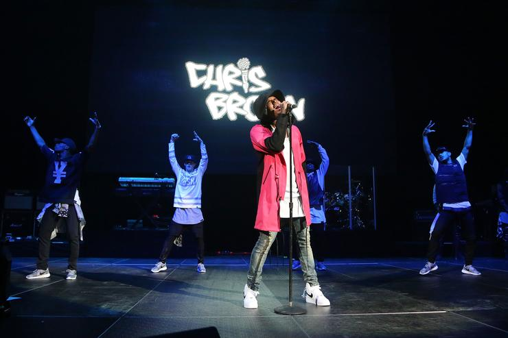 Chris Brown performs during Power 105.1's Powerhouse 2014 at Barclays Center on October 30, 2014 in New York City