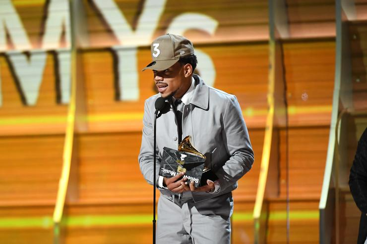 Recording artist Chance the Rapper accepts the award for Best New Artist, onstage during The 59th GRAMMY Awards at STAPLES Center on February 12, 2017 in Los Angeles, California