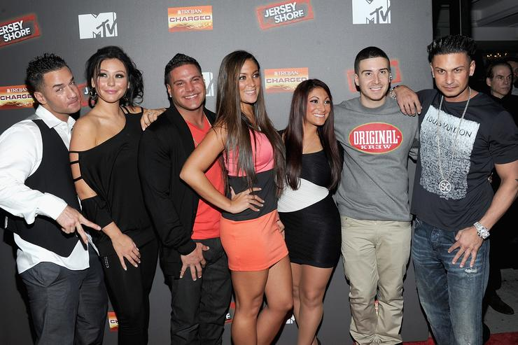 Mike 'The Situation' Sorrentino, Jenni 'J Woww' Farley,Ronnie Ortiz-Magro,Sammi 'Sweetheart' Giancola,Deena Nicole Cortese,Vinny Guadagnino and Paul 'Pauly D' DelVecchio attend the 'Jersey Shore' Final Season Premiere at Bagatelle on October 4, 2012 in New York City