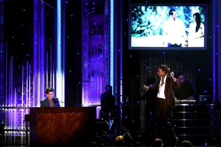 "Honorees Charlie Puth (L) and Wiz Khalifa, co-recipients of the Hollywood Song Award for ""See You Again"" from the 'Furious 7' soundtrack, perform onstage during the 19th Annual Hollywood Film Awards at The Beverly Hilton Hotel on November 1, 2015 in Beverly Hills, California"