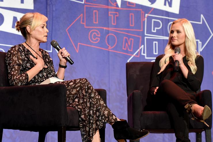 Chelsea Handler (L) and Tomi Lahren at 'Chelsea Handler in Conversation with Tomi Lahren' panel during Politicon at Pasadena Convention Center on July 29, 2017 in Pasadena, California