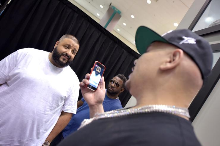 DJ Khaled (L) and Fat Joe at Kicksperience during the 2017 BET Experience at Los Angeles Convention Center on June 24, 2017 in Los Angeles, California