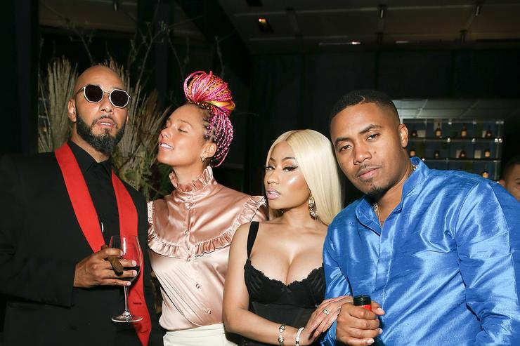 Swizz Beatz, Alicia Keys, Nicki Minaj and Nas attend hip hop artist Nas' private birthday dinner, presented by Hennessy, the world's best-selling Cognac, at The Pool Lounge in New York City on September 13, 2017