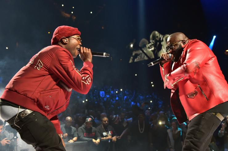 Rappers Meek Mill (L) and Rick Ross perform onstage during TIDAL X: 1020 Amplified by HTC at Barclays Center of Brooklyn on October 20, 2015 in New York City
