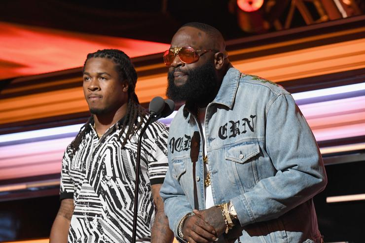 Devonta Freeman and Rick Ross onstage during the BET Hip Hop Awards 2017 at The Fillmore Miami Beach at the Jackie Gleason Theater on October 6, 2017 in Miami Beach, Florida