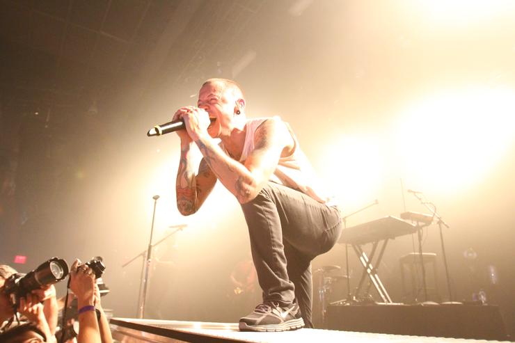 Chester Bennington of Linkin Park performs at the Best Buy Theater
