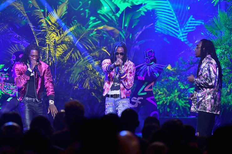 Rappers Offset, Quavo, and Takeoff of Migos perform onstage during the BET Hip Hop Awards 2017 at The Fillmore Miami Beach at the Jackie Gleason Theater on October 6, 2017 in Miami Beach, Florida