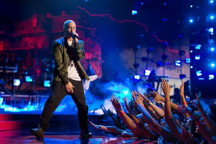 Recording artists Eminem performs onstage at the 2014 MTV Movie Awards at Nokia Theatre L.A. Live on April 13, 2014 in Los Angeles, California