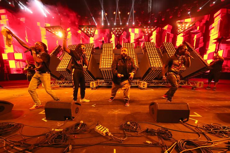 Rappers Quavo and Takeoff of Migos, DJ Khaled and Offset of Migos perform at the Sahara stage during day 3 of the Coachella Valley Music And Arts Festival (Weekend 1) at the Empire Polo Club on April 16, 2017 in Indio, California