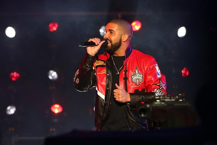 Rapper Drake speaks during introductions before the NBA All-Star Game 2016 at the Air Canada Centre on February 14, 2016 in Toronto, Ontario