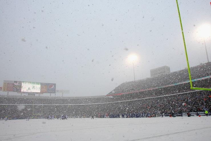 A general view of the Buffalo Bills playing the Indianapolis Colts in the snow at Ralph Wilson Stadium on January 3, 2010 in Orchard Park, New York